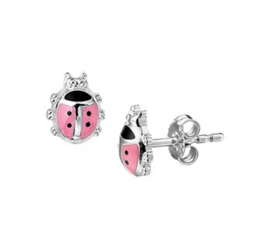 Roze Lieveheersbeestjes Oorknoppen van Zilver
