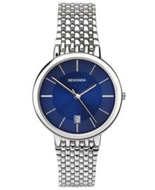 Stijlvol Sekonda Heren Horloge met Felblauwe Wijzerplaat