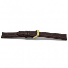 Horlogeband H348G Croco Bruin Goud 22x20 mm
