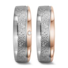 Zilveren en Roségouden Trouwringen Set met Diamant
