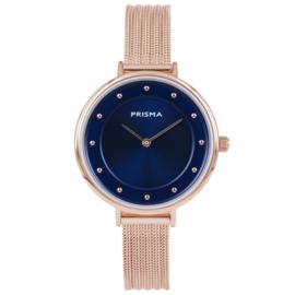 Prisma Roségoudkleurig Dames Horloge met Felblauwe Wijzerplaat