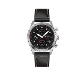 Hugo Boss Horloge Aero Zilverkleurig Horloge met Zwarte Lederen Band van Boss