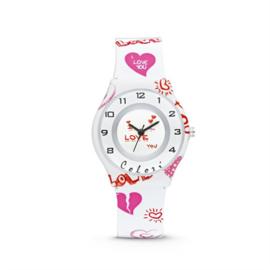 Wit Liefde Horloge met Roze en Rode Decoraties van Colori Junior