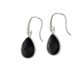 Zwarte Onyx Oorhangers van Zilver
