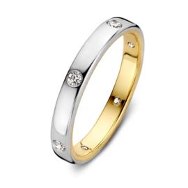 Excellent Jewelry Bicolor Ring met 0,20 crt. Briljanten
