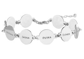 Names4ever Zilveren Armband met Tien Rondjes met Naam ZNA68