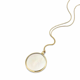 Gouden 33mm Medaillon met White Laser Wave Insignia en Ketting van MY iMenso Gold