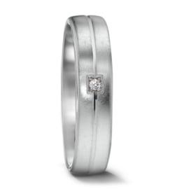 Stijlvolle Dames Trouwring van Gescratcht Witgoud met Vierkante Diamant
