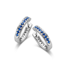 Excellent Jewelry Witgouden Oorringen met Saffier Diamanten