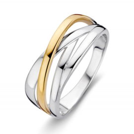 Excellent Jewelry Bicolor Diagonale Stroken Ring
