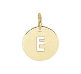 Opengewerkte Letter E Hanger van Geelgoud
