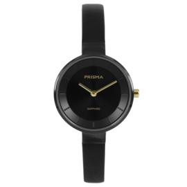 Prisma Zwart Dames Horloge met Zwart Lederen Horlogeband