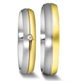 Bolle 9 Karaat met Zilveren Trouwringen Set met Diamant