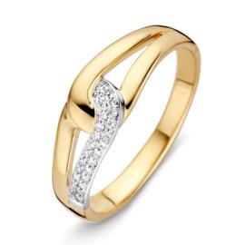 Excellent Jewelry Bicolor Ring met Dubbele Lus en Diamanten