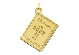 Names4ever Gouden Communiehanger met Kruis en Gravure