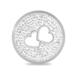 LOCKits Zilverkleurige Zirkonia Munt met Opengewerkte Hartjes 33mm