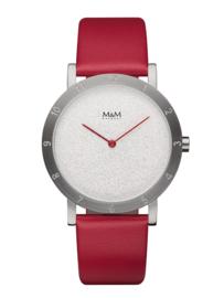 Zilverkleurig Numbers Unisex Horloge met Rode Horlogeband van M&M