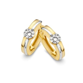 Excellent Jewelry Bicolor Creolen met Kleurloze Zirkonia