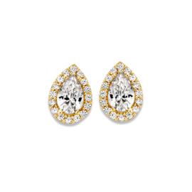 Excellent Jewelry Geelgouden Druppelvormige Oorstekers met Zirkonia's