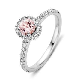 Excellent Jewelry Witgouden Ring met Briljanten en Morganiet