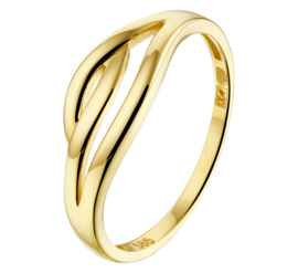 Slanke Geelgouden Dames Ring met Opengewerkte Voorkant