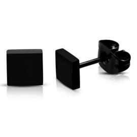 Zwarte Vierkante Oorstekers van Edelstaal | 5mm
