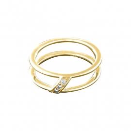 Goudkleurige Ring van Zilver met Zirkonia's van MY iMenso
