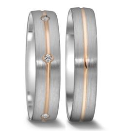 Bolstaande Matte Zilveren Trouwringen Set met Roségouden Lijn en Vijf Diamanten