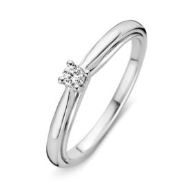 Excellent Jewelry Bolstaande Witgouden Ring met 0,10 crt. Briljant