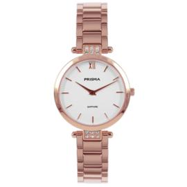 Roségoudkleurig Dames Horloge met Parelmoer en Zirkonia's van Prisma