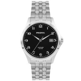 Prisma Klassiek Zilverkleurig Heren Horloge met Zwarte Wijzerplaat
