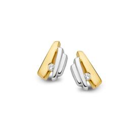 Excellent Jewelry Speelse Bicolor Oorstekers met 0,04 crt. Diamant