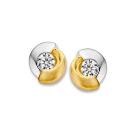 Excellent Jewelry Ronde Bicolor Oorstekers met Zirkonia voor Dames