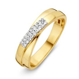 Excellent Jewelry Geelgouden Ring met Dubbele Diamant Rij