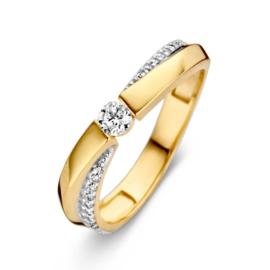 Excellent Jewelry Geelgouden Ring met Zirkonia Rij en Kopstuk