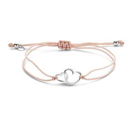 Armband van Roze Katoen met Hartjes
