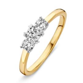 Excellent Jewelry Bicolor Dames Ring met Drie Zirkonia's Kopstuk