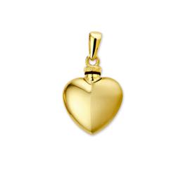 Gepolijst met Gematteerde Hartvormige Urn hanger van Geelgoud