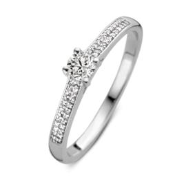 Excellent Jewelry Witgouden Ring met Briljant Kopstuk