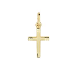 Geelgouden Kruishanger met Gediamanteerd Oppervlak en Gepolijste Lijnen