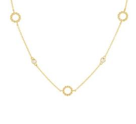 Zilveren Collier met Goudkleurige Coating en Zirkonia Cirkels