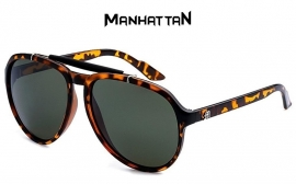 Manhattan Bruin Gevlekt Frame Zonnebril met Grijze Glazen