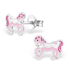 Roze Pony Oorstekers van Zilver voor Meisjes