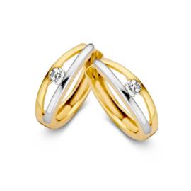 Excellent Jewelry Bicolor Creolen met Zirkonia voor Dames