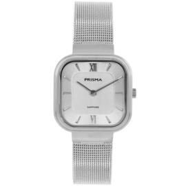 Prisma Zilverkleurig Vierkant Dames Horloge