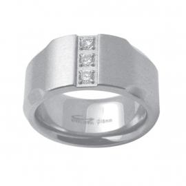 Stevige Ring met Drie Zirkonia's van C MY STEEL - Graveer Ring