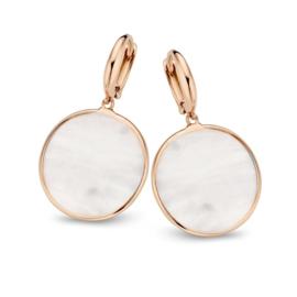 Excellent Jewelry Roségouden Parelmoer Creolen voor Dames
