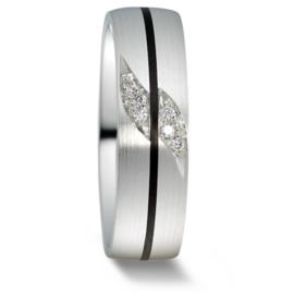 Brede Dames Trouwring van Mat Zilver met Carbon Lijn en Diamanten
