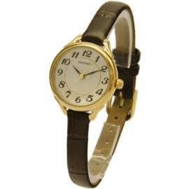 Rond Goudkleurig Horloge met Bruin Lederen Horlogeband