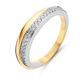 Excellent Jewelry Bicolor Ring met 0,25 crt. Briljant Strook